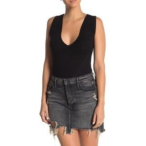KENDALL AND KYLIE Mesh Stitched Ribbed Bodysuit